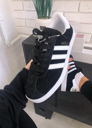 Adidas gazelle black white, кроссовки мужские адидас