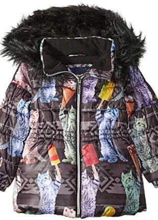 Замечательная тёплая куртка limited too с кошками на 8-10 лет....