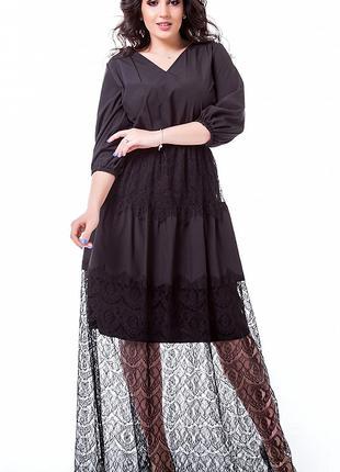 Платье макси с гипюром до 64 размера