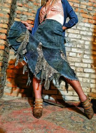 Винтаж джинсовая стрейч юбка с кружево рюши бахрома бисер пайе...