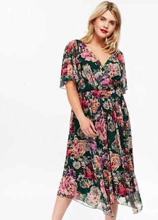 Шикарное цветочное платье scarlett&jo 58-60-62