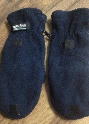 Варежки-перчатки insulation,с открытыми пальчиками,флис