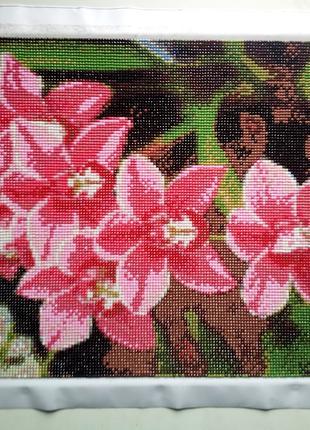 Орхидеи Готовая алмазная вышивка 40*30см.Полная выкладка