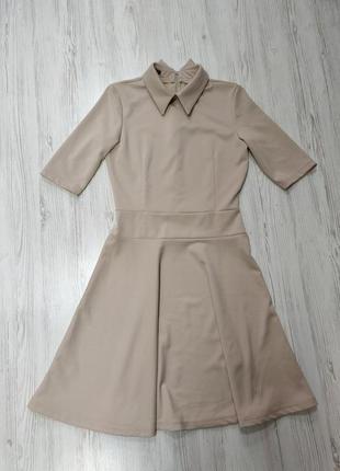 Ликвидация товара 🔥 бежевое платье с воротником  на каждый день