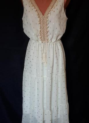 Ярусное платье- миди в стиле бохо цвета шампань франция ( разм...