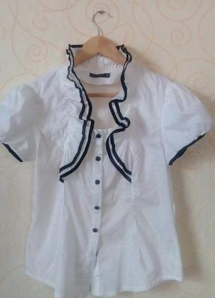 Белая блуза с рукавом- фонарик
