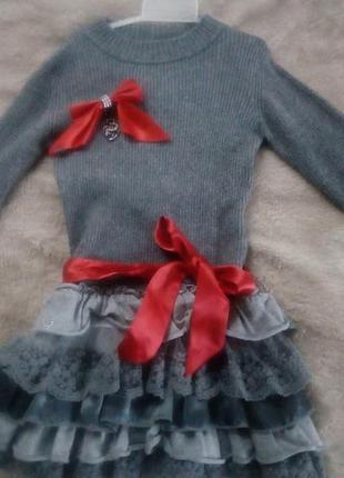 Нарядное теплое платье