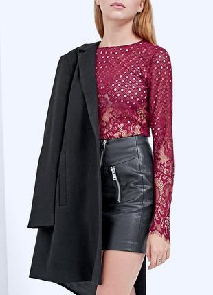 Блуза ажур гипюр кружево цвета марсала STRADIVARIUS M