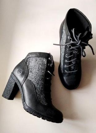 37,5р. кожаные деми ботинки timberland harris tweed