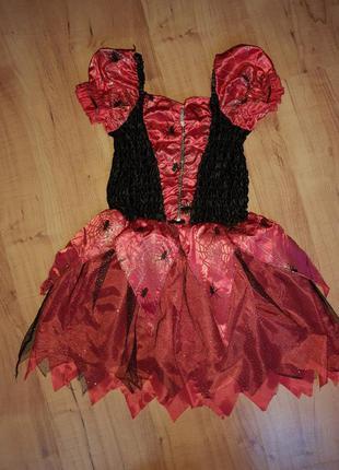 Карнавальный костюм детский на хэллоуин, платье ведьма на 6-8 лет