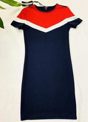 Темно-синие платье с коротким рукавом