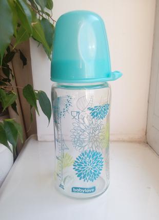 Бутылочка стеклянная с соской Babylove 240 мл Германия