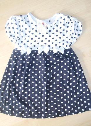 Нарядное платье в горох на 5-6  лет.