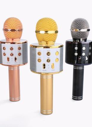 Беспроводной караоке микрофон Bluetooth колонка радио WS-858 О...
