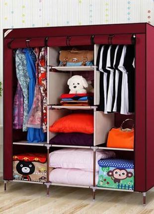 Тканевый шкаф складной каркасный STORAGE для одежды обуви 3 се...