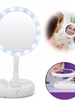 Косметическое зеркало cкладное круглое для макияжа с Led подсв...