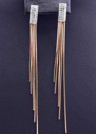 Позолоченные потрясающие длинные серьги