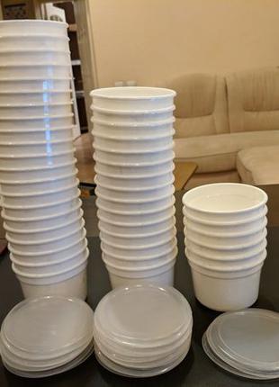 Пищевой контейнер пластиковый судок 0,5 л белый круглый есть 9...