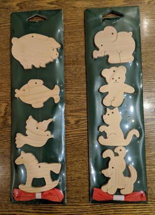 Деревянные елочные игрушки раскраски, 4 шт. в наборе есть 2 шт...