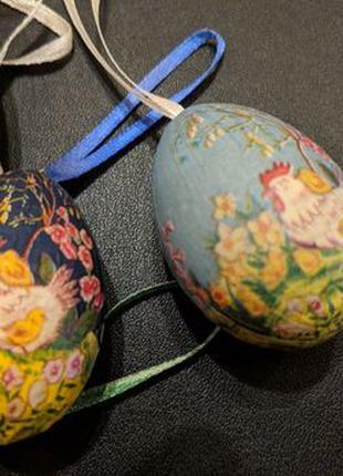 Яйца пасхальные 5-6 см на подвесках, 6 штук, цена за все