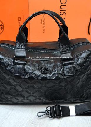 Брендовая дорожная сумка в ст версаче versache кожа