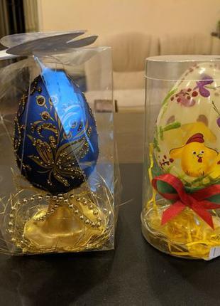 Пасхальное яйцо писанка крашанка декоративные стекло есть 2 це...