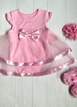 Нарядный комплект. платье нарядное, пинетки, повязка