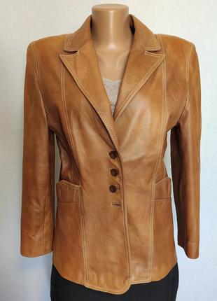 Куртка женская кожаная коричневая пиджак taifun