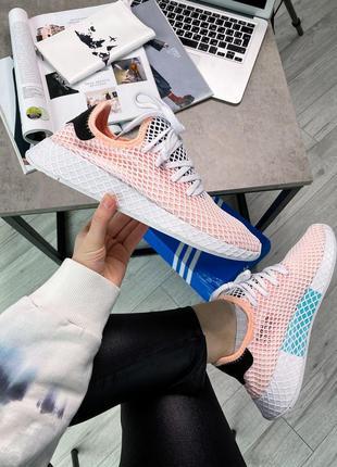 Оригинальные кроссовки adidas deerupt runner pink white black ...