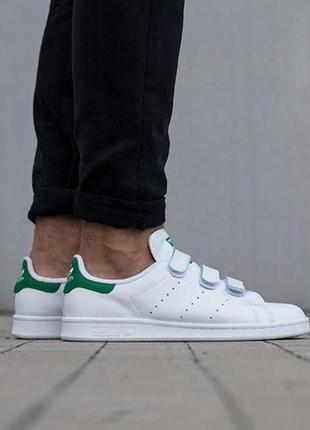 Adidas stan smith cf мужские кроссовки адидас на липучках белые