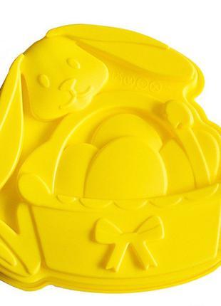 Силиконовая форма для выпечки Пасхальный Кролик с корзиной