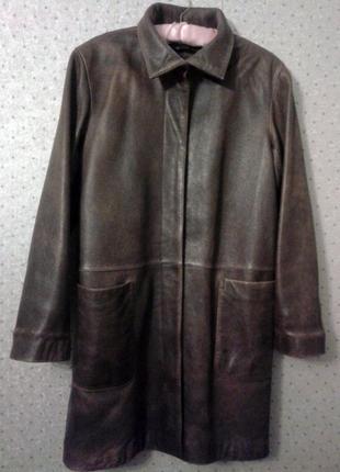 Кожаное пальто , женское, dkny , оригинал