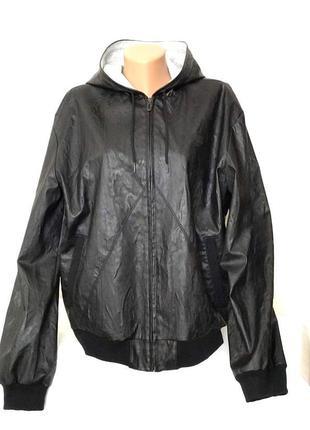 Мужская демисезоння куртка с капюшоном zara man, эко кожа,  l-xl.