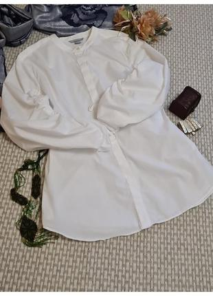 Блуза белая h&m/с пышным рукавом/хлопок
