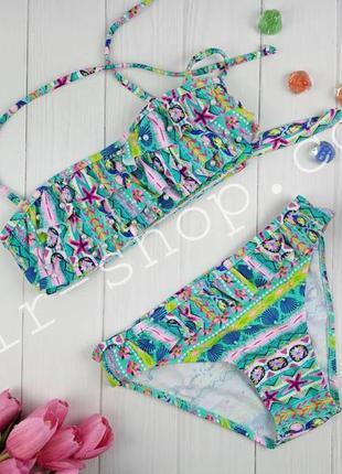 Модный разноцветный раздельный купальник для девочки 8-12 лет