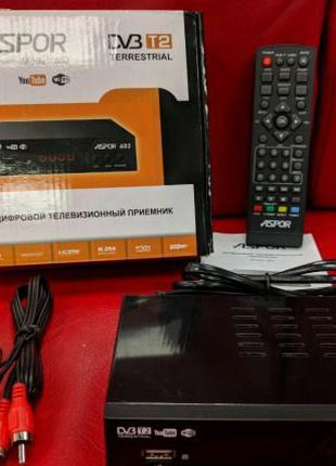 ТВ-Тюнер Aspor DVB T2 (603) (HDMI, RCA, USB, Metal, контроллер...