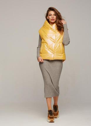 Модный женский стеганый короткий желтый жилет