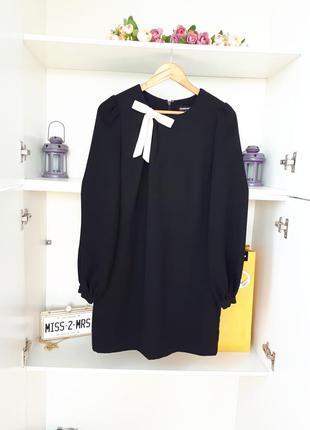 Маленькое черное платье с бантиком длинный рукав   warehouse