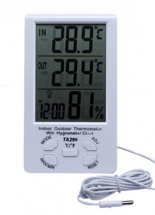 Метеостанция Термометр Гигрометр TA298 с часами и выносным датчик