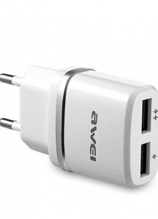 Сетевой адаптер Awei C-930 5V, 2.1A, 2 USB Блок питания