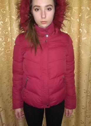 Теплая бордовая куртка бершка Bershka