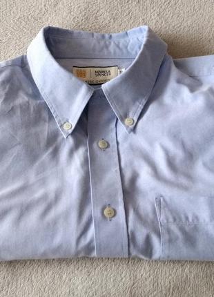 Классическая стильная хлопковая рубашка marks & spenser classi...