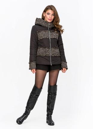 Скидка! женская комбинированная демисезонная короткая куртка с...