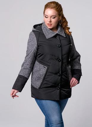 Скидка! женская комбинированная демисезонная куртка черная с т...
