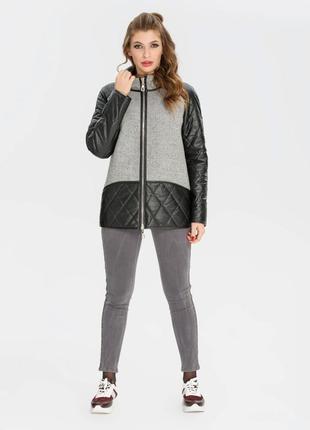 Демисезонная женская комбинированная черно-серая куртка из эко...
