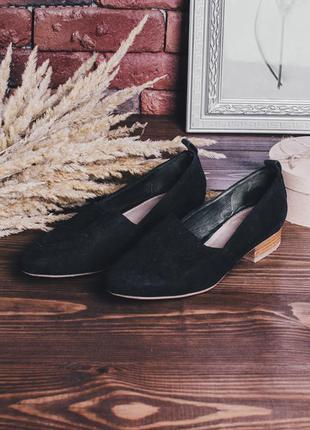Черные туфли-балетки замшевые, туфли на плоской подошве, замше...
