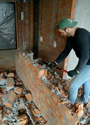 Демонтаж стен, пола, штукатурки, плитки, обоев. Перепланировка.