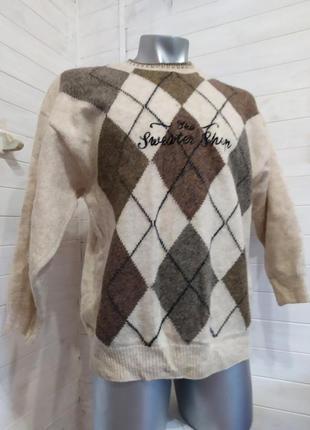 Теплый свитер ,шерсть m-2xl