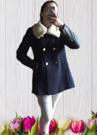 Пальто шерсть с кожаными рукавами