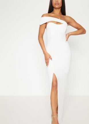 Нарядное белое платье макси с разрезом до колена,  на выпускно...
